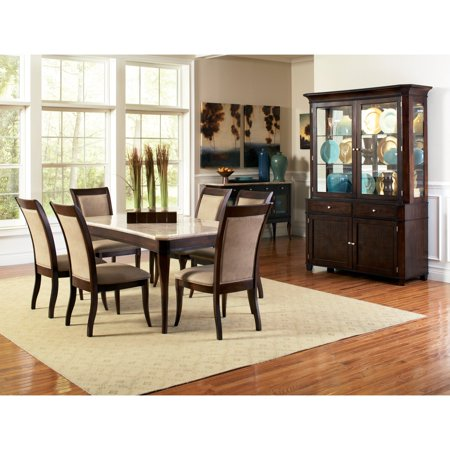 - Steve Silver Marseille Marble Top Dining Table - Cherry