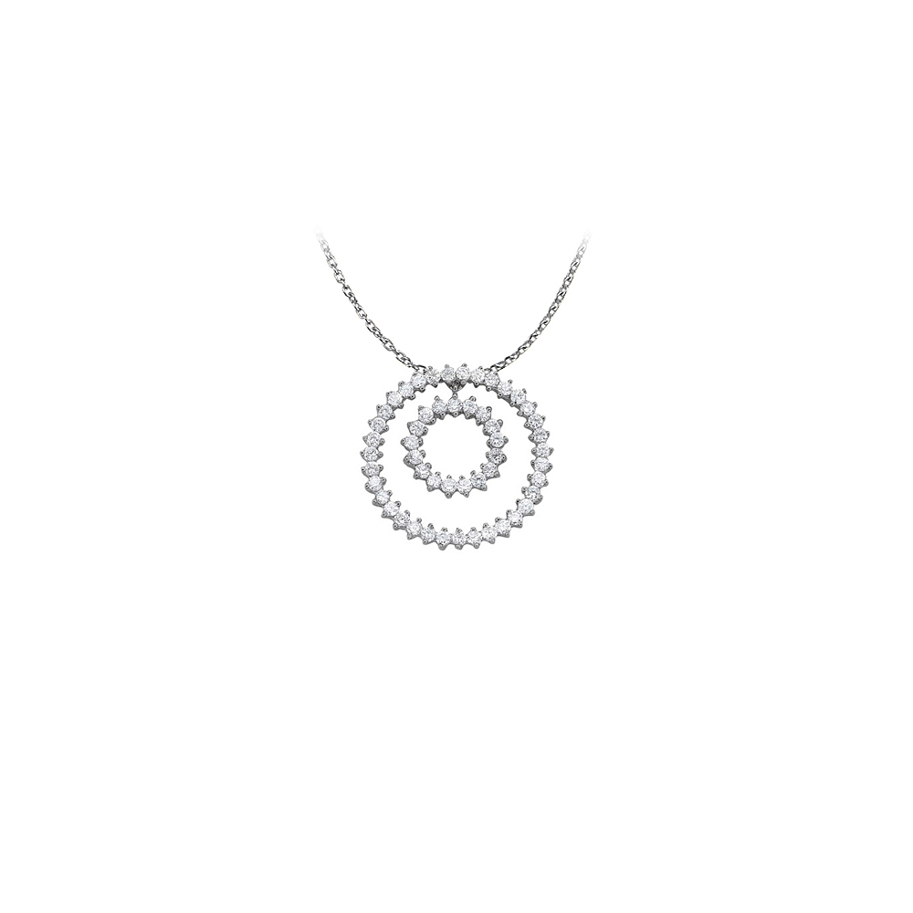 Fab Gift Cubic Zirconia Double Circle Pendant in Sterling Silver with Cute Free 16 Inch Chain - image 2 de 2