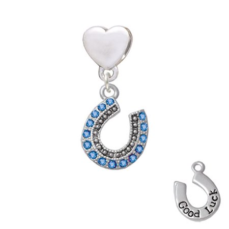 Beaded Blue Crystal Horseshoe with Good Luck - Heart Charm - Horse Shoe Crafts