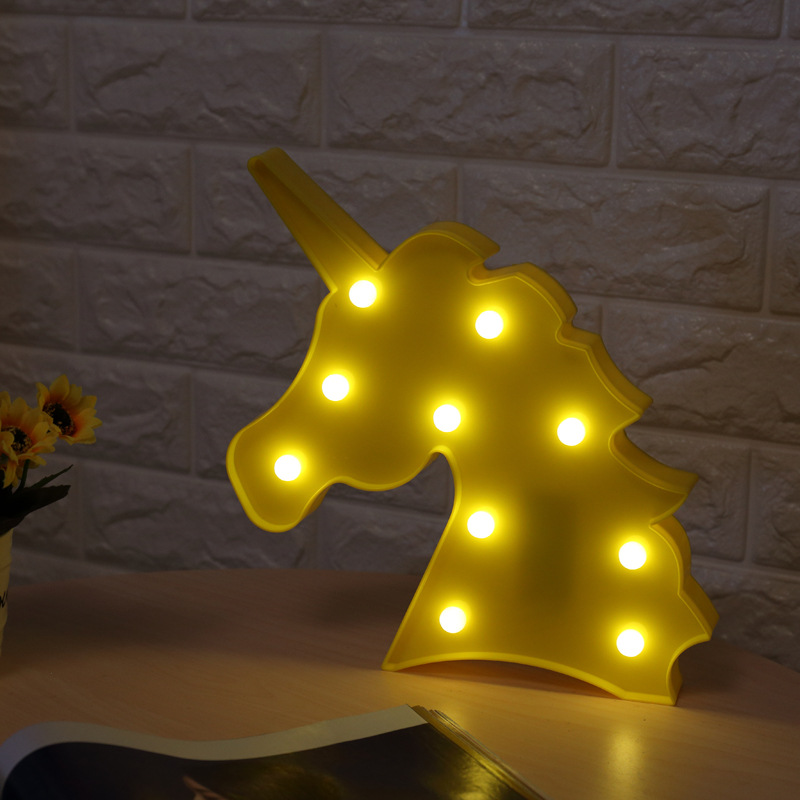Unicorn Night light,Kids Marquee Letter Lights Unicorn shape Signs Light Up Party Wall Decoration Battery Operated (White)