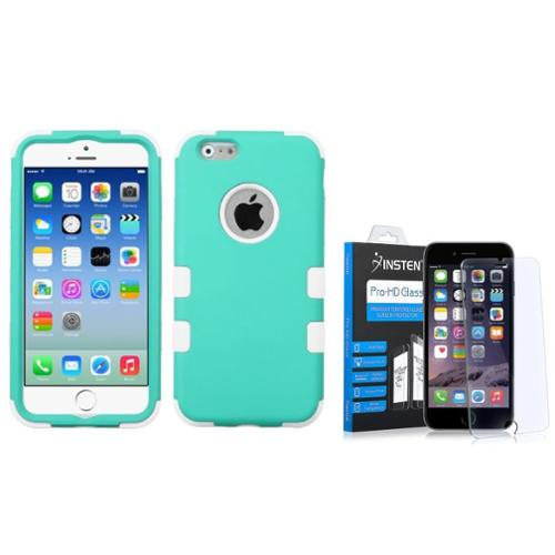 Insten Hybrid 3-Layer Protective Hard PC Outer/Silicone Inner Case for iPhone 6 6s - Teal/White (+ Tempered Glass Screen Protector)