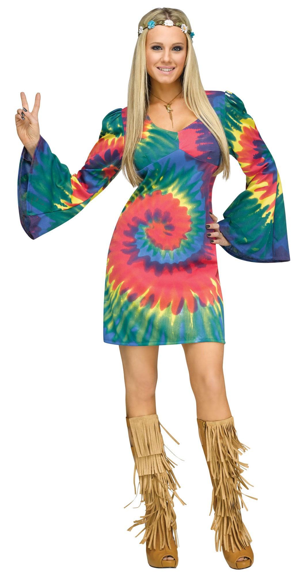 groovy gal tye dye women's costume swirl hippie 60s 70s halloween