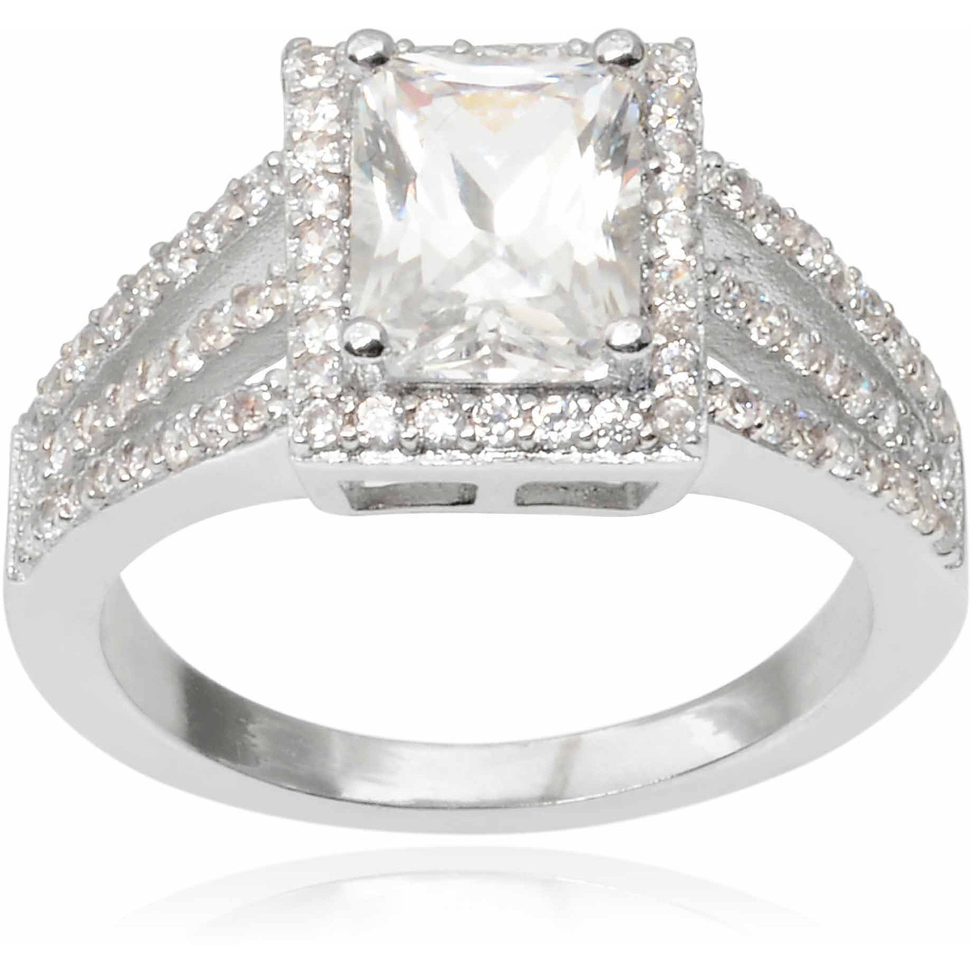 Alexandria Collection Women's Rectangle Cut CZ Silver-Tone Engagement Ring