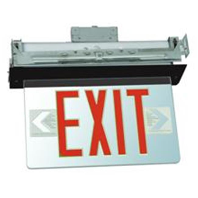 Morris Products 73332 Recessed Mount Edge Lit Led Exit Signs Red On Clear Panel Black Housing