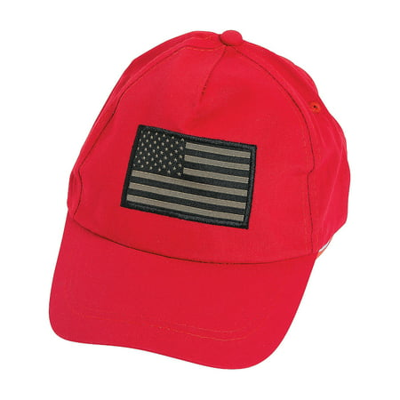 Fun Express - Urban Flag Baseball Hat Red 1 pc for Fourth of July - Apparel Accessories - Hats - Baseball Caps - Fourth of July - 1 Piece - 4th Of July Baseball Hats