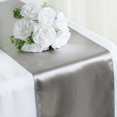 Satin Table Runner Wedding Party Banquet Silver 12 x - Silver Table Runner