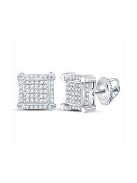 10k White Gold Mens Round Diamond Square Cluster Stud Earrings 1/6 Cttw