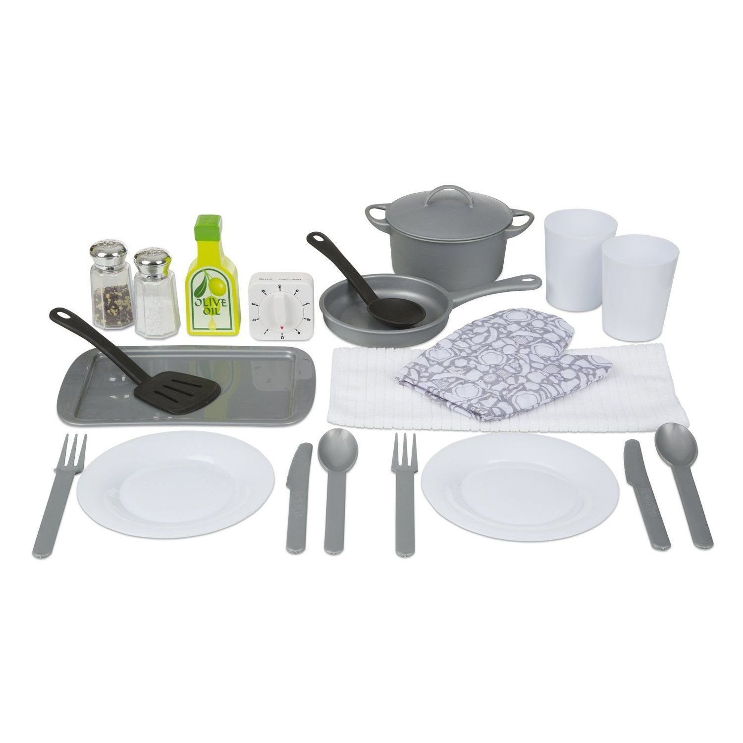 Melissa Doug 22 Piece Play Kitchen Accessories Set Utensils Pot
