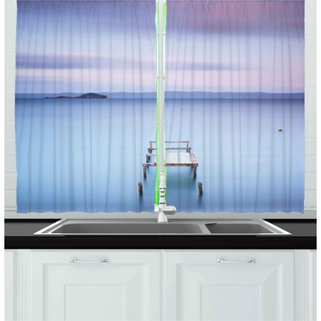Long Italian - Landscape Curtains 2 Panels Set, Wooden Jetty on Bolsena Lake Italy Long Exposure Photo European Nature View, Window Drapes for Living Room Bedroom, 55W X 39L Inches, Baby Blue Lilac, by Ambesonne