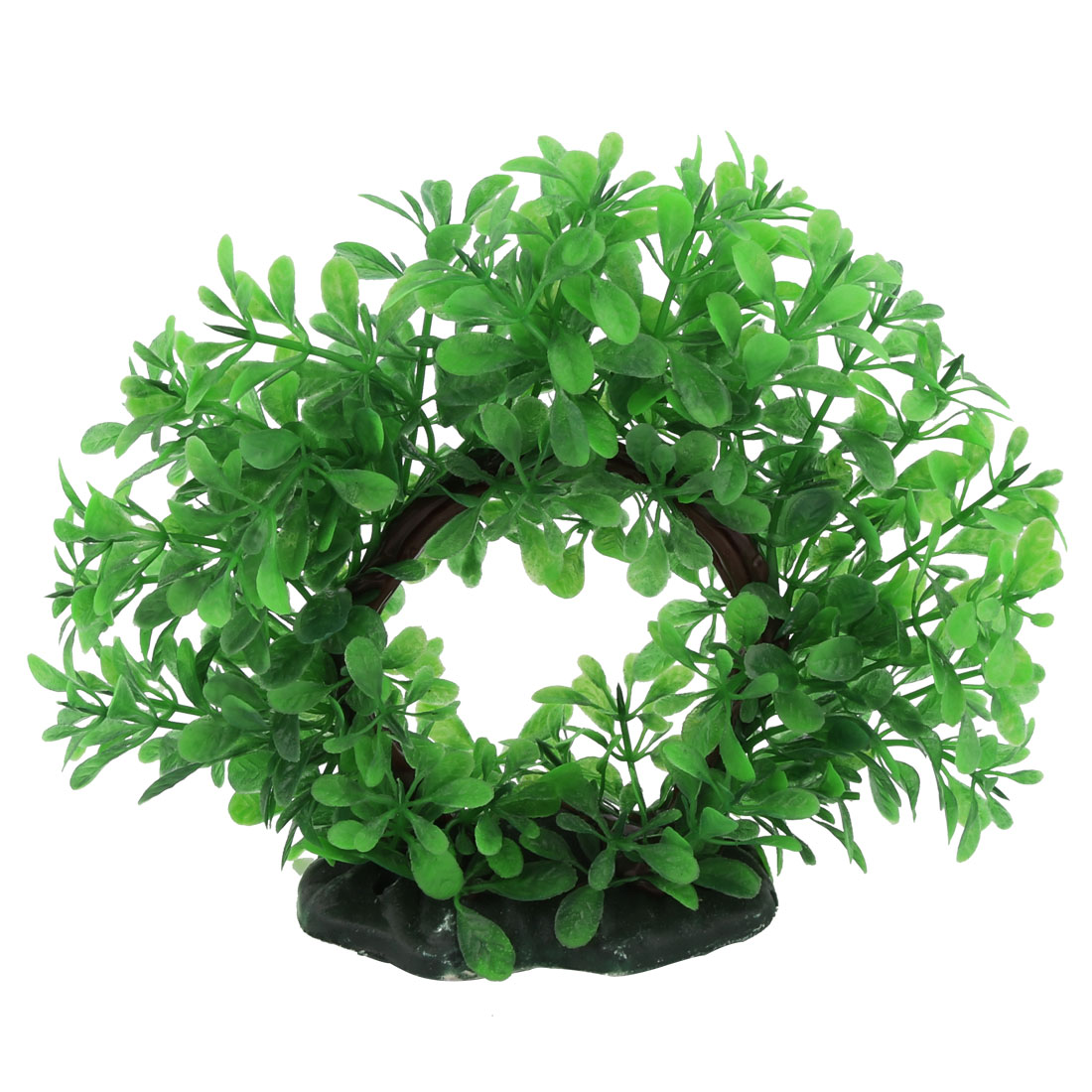 Aquarium Ceramic Base Plastic Fake Plant Grass Decoration Green 14cm Height