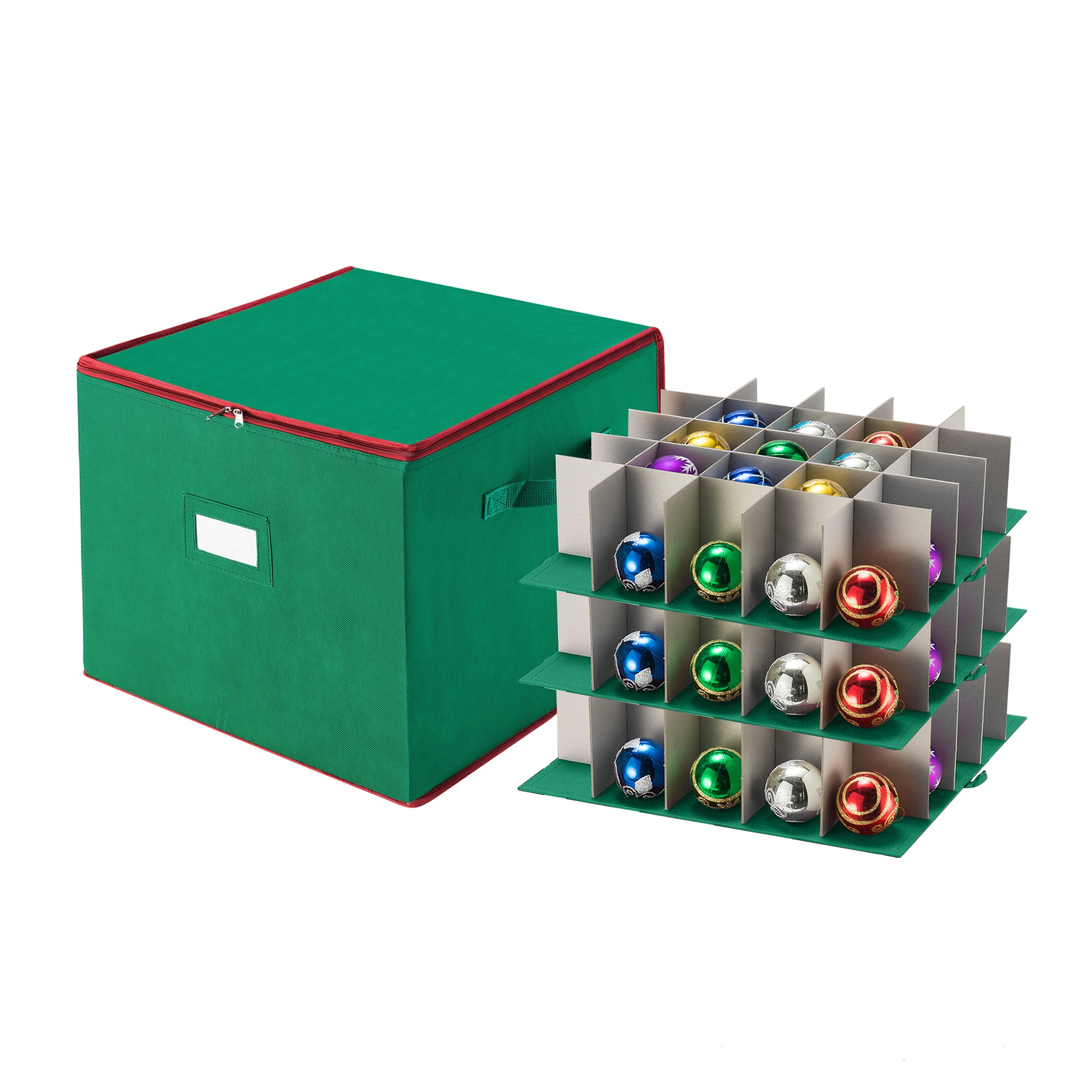 Tiny Tim Totes Christmas Ornament Storage Chest Holds 75 Balls w/ Dividers Green