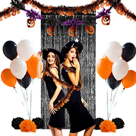Halloween Pumpkin Themed Party Decoration Complete Set - Tinsel Garlands, Latex Balloons, Paper Pompoms, Fringe Curtain (1, Pumpkin)