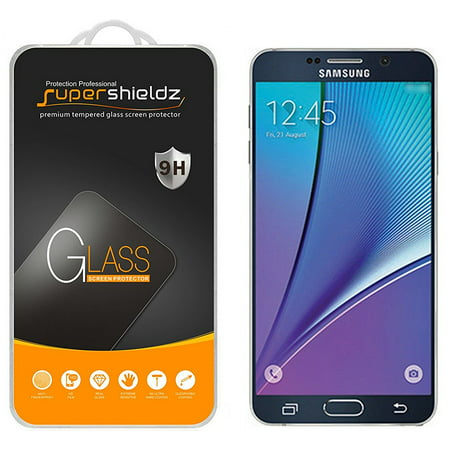 [2-Pack] Supershieldz for Samsung Galaxy Note 5 Tempered Glass Screen Protector, Anti-Scratch, Anti-Fingerprint, Bubble