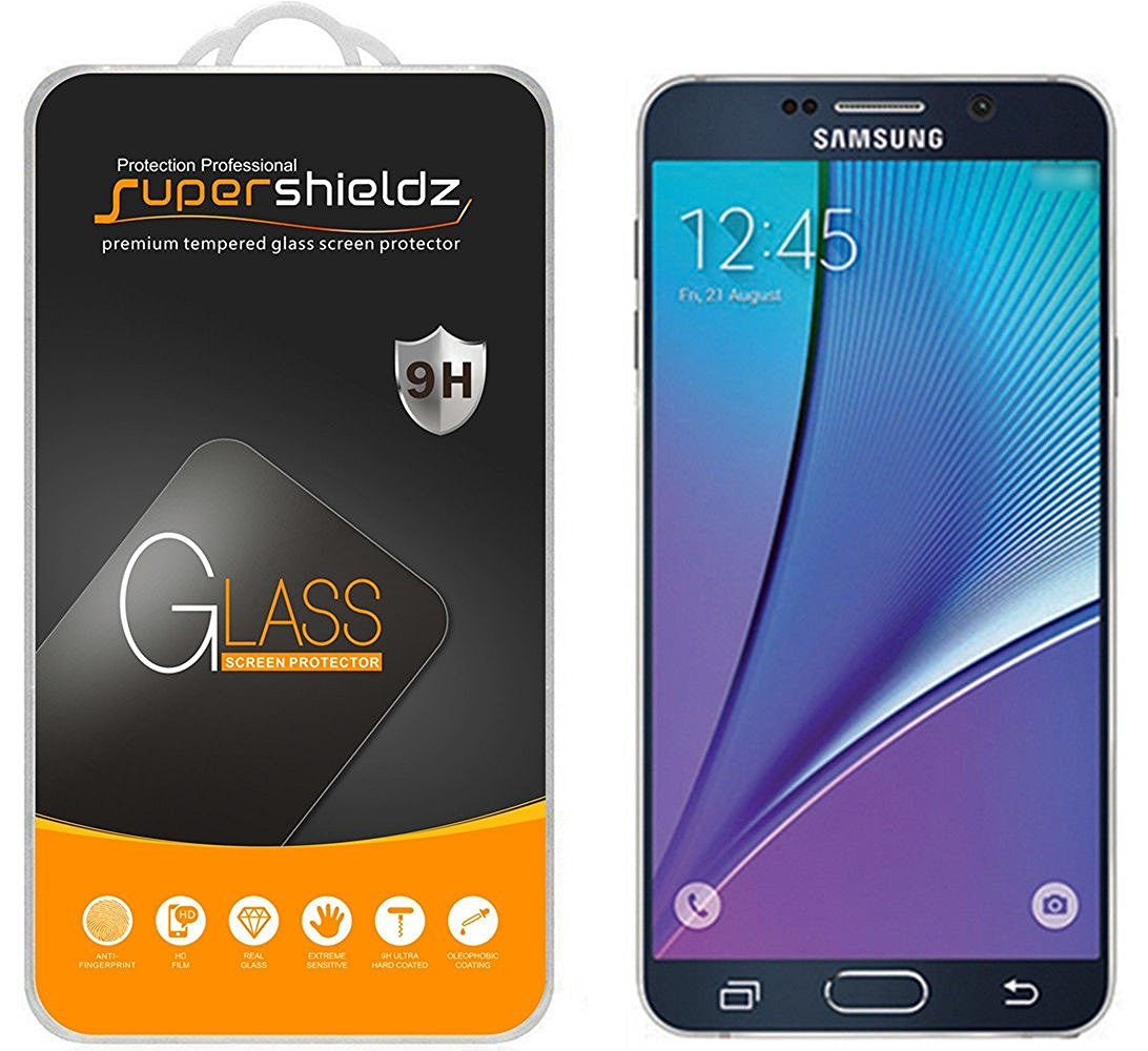 [2-Pack] Supershieldz Samsung Galaxy Note 5 Tempered Glass Screen Protector, Anti-Scratch, Anti-Fingerprint, Bubble Free