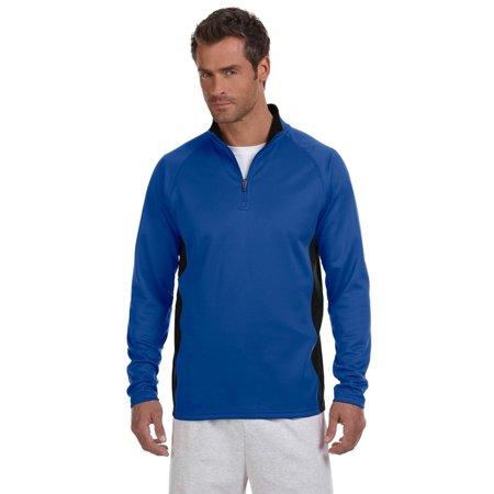Champion Unisex Double Dry Colorblock 1/4 Zip Jacket, Royal/Black - S