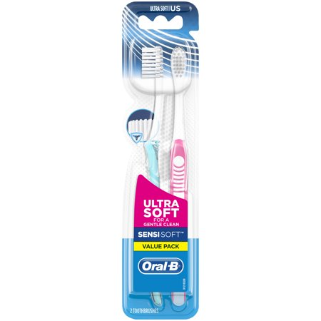 (2 pack) Oral-B Sensi-Soft Toothbrushes, Ultra Soft, 2 Count (Polystyrene Soft Brush)