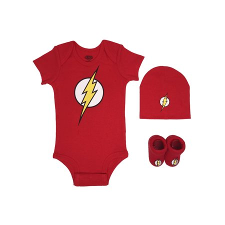 Newborn Gift Set Case - The Flash Short Sleeve Bodysuit, Booties & Cap, 3-piece Layette Gift Set (Newborn Baby Boys)