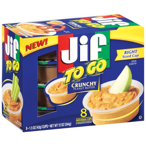 JIF To Go Crunchy Peanut Butter Cups, 1.5 oz, 8 ct