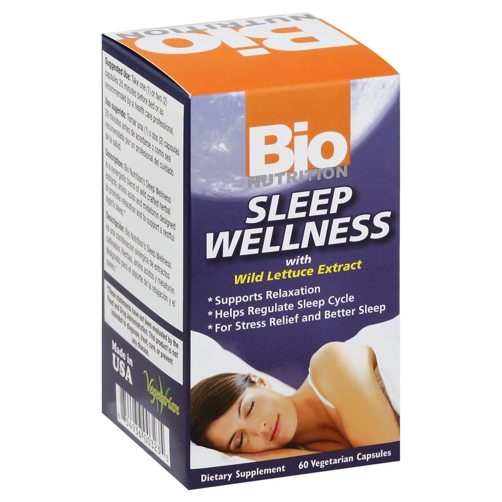 Bio Nutrition Sleep Wellness with Wild Lettuce Extract 60 Vegetarian Capsules