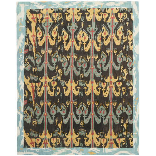 Safavieh Ikat Asia Hand Tufted Wool Area Rug, Charcoal and Blue