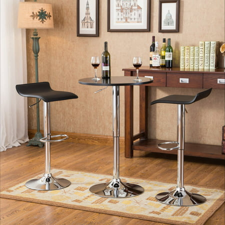 Roundhill Furniture Baxton Black Adjustable Height Wood and Chrome Metal Bar Table and 2 Black Chrome Air Lift Adjustable Swivel Stools Set ()