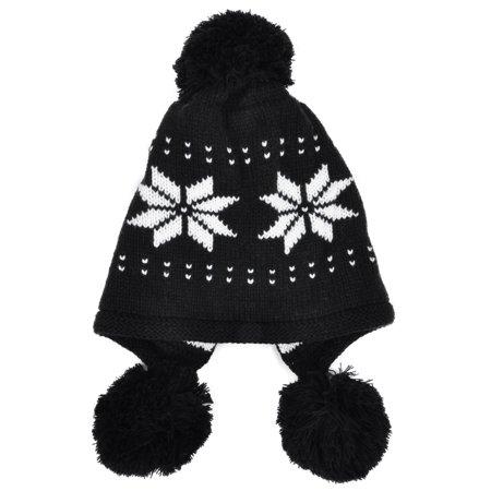 8b00df62d Simplicity Women's Knit Ear Flap Winter Hat Beanies with Pom-Pom,Black