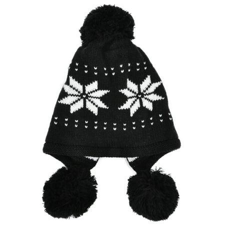 Simplicity - Women s Winter Ski Knit Snowflake Cable Earflap Black ... bfdf920cb