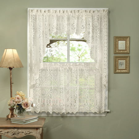 Hopewell Heavy Lace Floral Kitchen Curtain 36