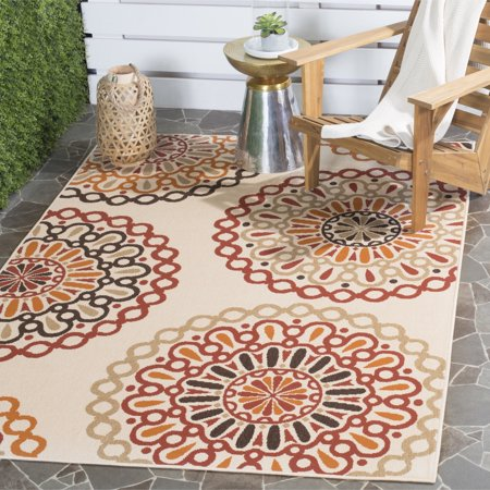 Safavieh  Indoor  Outdoor Veranda Cream  Red Area Rug  53 X 77