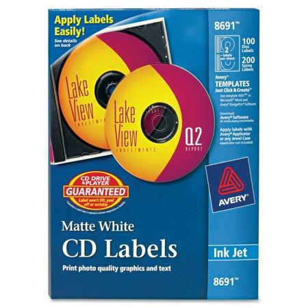 Averyr Matte White Cd Labels For Inkjet Printers 8691 100 Face
