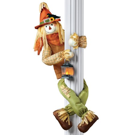 Scarecrow Hugger With Lantern Fall Outdoor or Indoor Decoration, Lighted Porch Décor, Poseable Arms and Legs - Outdoor Fall Decorations