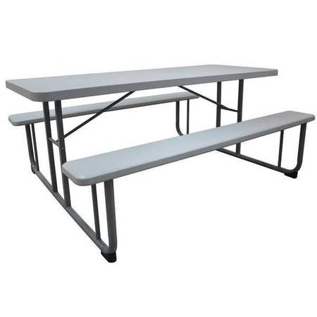 "12F621 Picnic Table, 72"" W x60"" D, by VALUE BRAND"