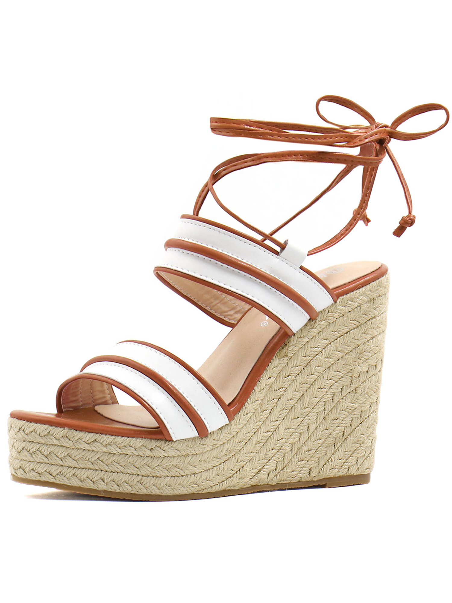 b7c9f9f0016 Unique Bargains Women's Striped Ankle Tie Espadrille Wedge Sandals