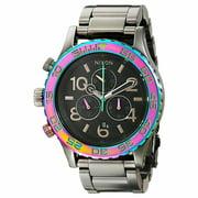 Nixon A0371698 Men's 42-20 Chrono Grey Dial Gunmetal IP Steel Bracelet Lefty Dive Watch