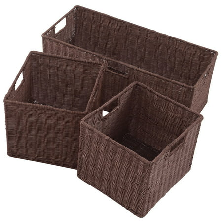 Gymax 3PCS Rattan Storage Baskets Nest Nesting Cube Bin Box - Storage Cube Baskets