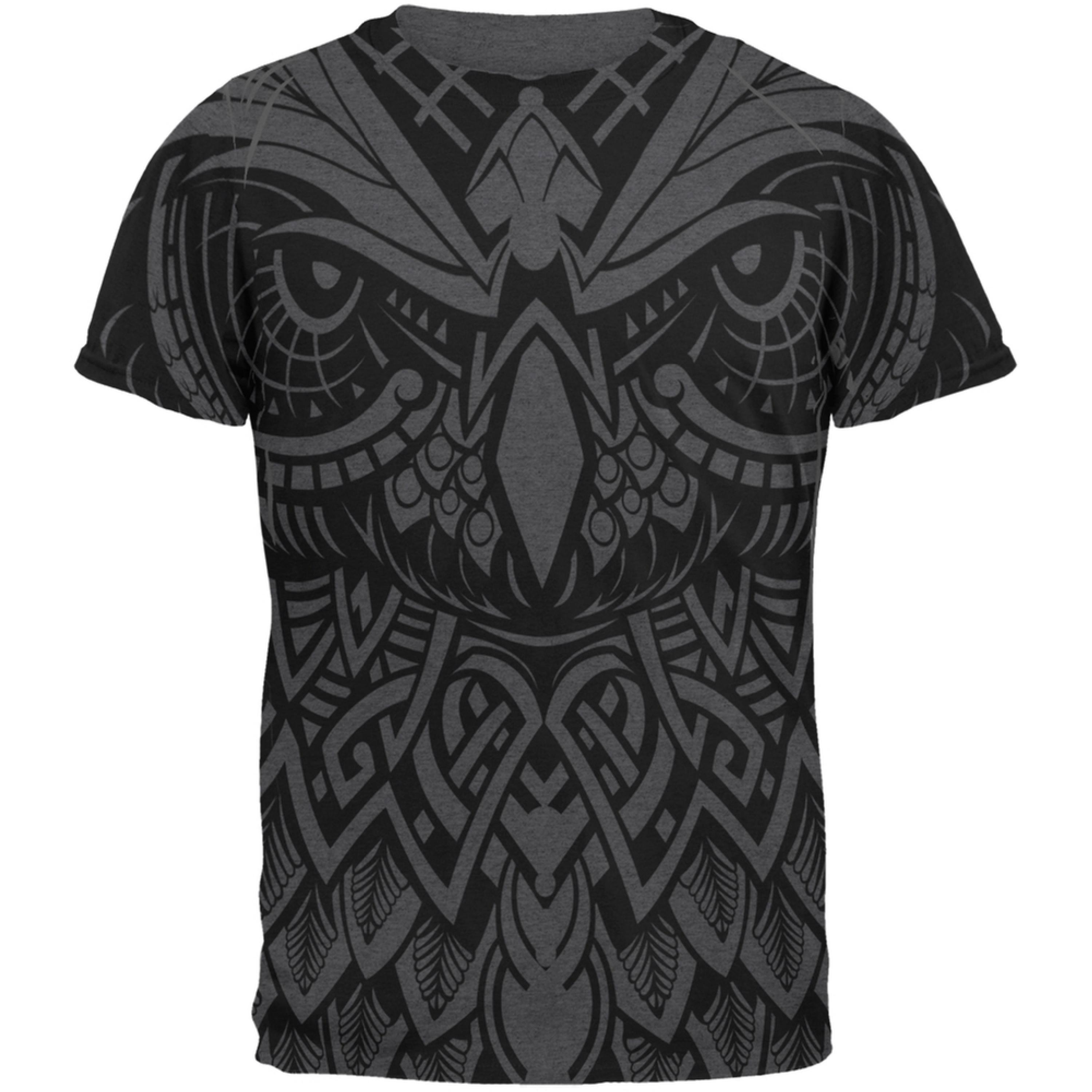 Trippy Owl Outline All Over Dark Heather Adult T-Shirt