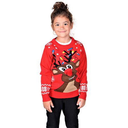 KESIS Children Curious Rudolph With 3D Nose Ugly Christmas Sweater (Ugly Christmas Sweater Girls)