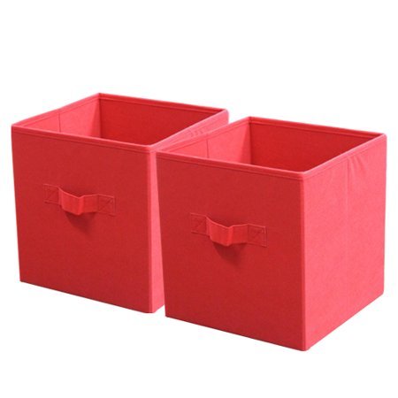 mainstays collapsible fabric storage cube set of 2 red 10 5 x10 5. Black Bedroom Furniture Sets. Home Design Ideas