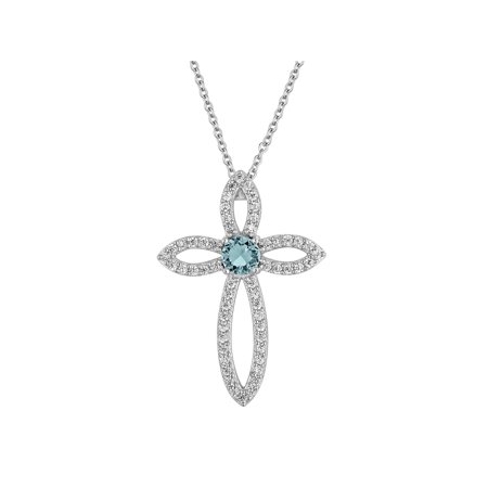 Sterling Silver Plated Simulated Blue Topaz with CZ Accents Cross Pendant, 18