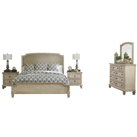 Ashley Furniture Demarlos 5 Pc Bedroom Set Queen Upholstered Bed 2 Nightstand Dresser Mirror Parchment White