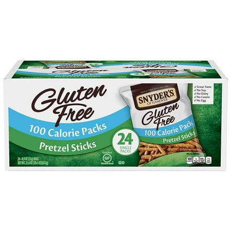 Snyder's of Hanover Gluten Free Pretzel Sticks 100 Calorie Snack Bags, 24 Ct, 0.9 Oz each (Halloween Chocolate Covered Pretzel Sticks)