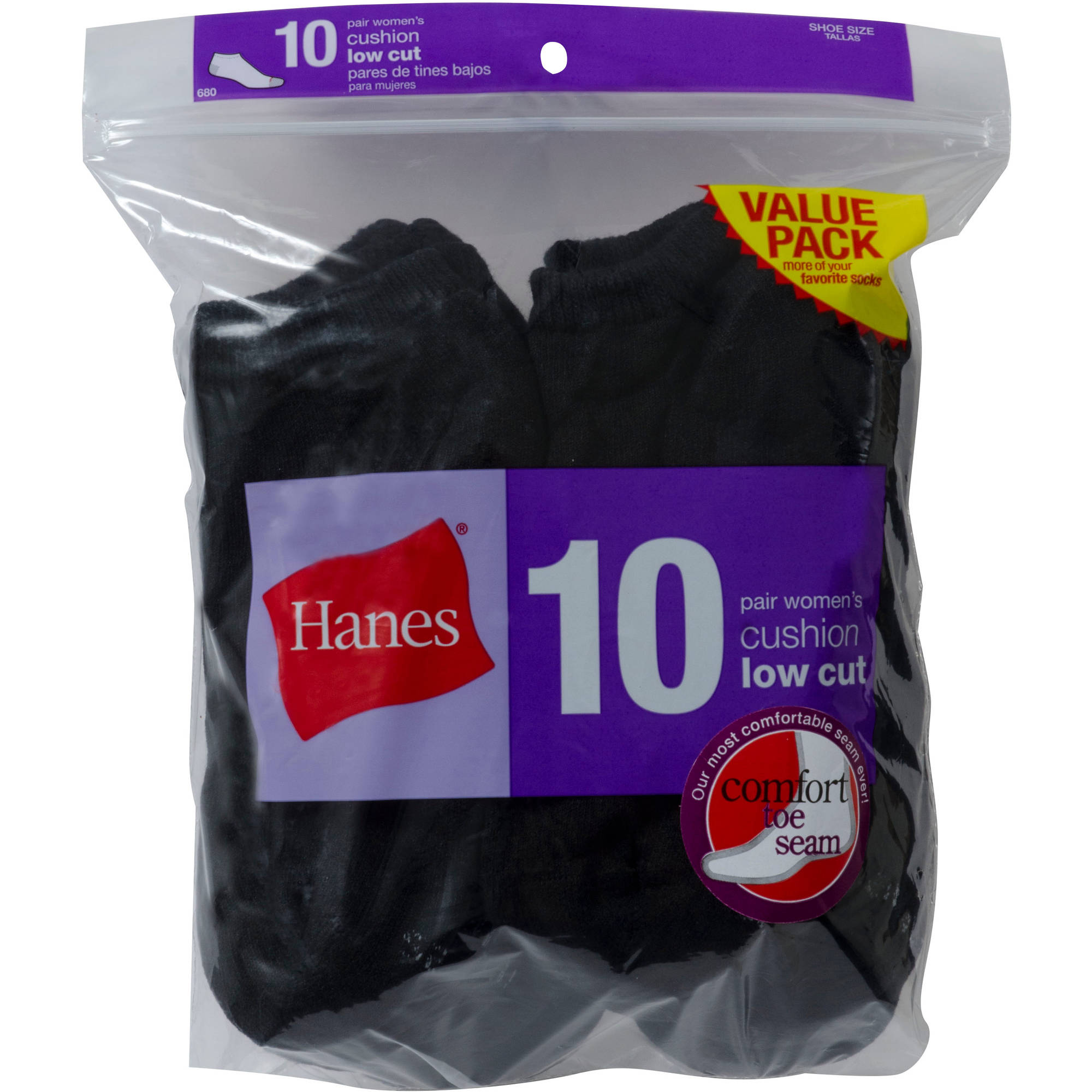 Hanes Ladies Low Cut Socks 10 Pack