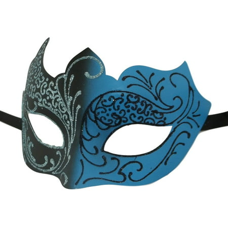 Light Blue Aqua Black Venetian Mask Masquerade Mardi Gras Unique - Unique Masks
