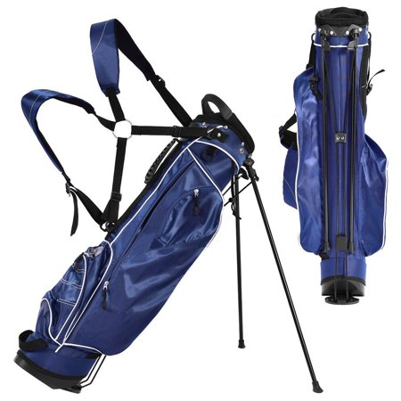 Gymax Blue Golf Stand Cart Bag Club With Carry Organizer Pockets