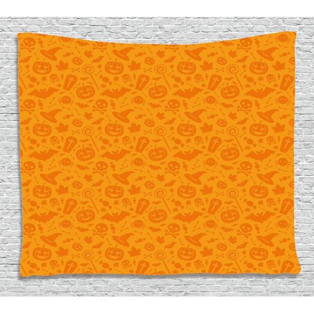 Halloween Decorations Tapestry, Monochrome Design with Traditional Halloween Themed Various Objects Day, Wall Hanging for Bedroom Living Room Dorm Decor, 80W X 60L Inches, Orange, by - Designs For Halloween