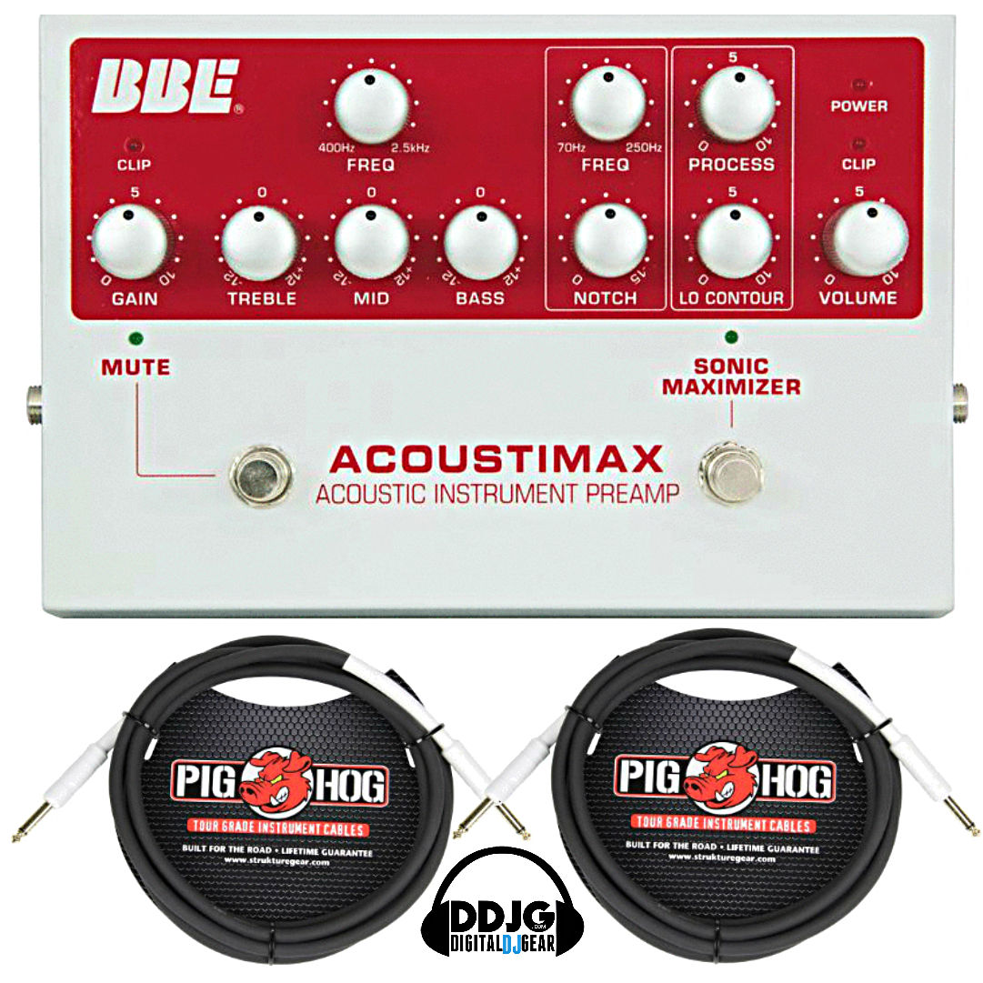 BBE AcoustiMax Sonic Maximizer Guitar Pedal PreAmp w  2 Pig Hog 10' Cable by BBE