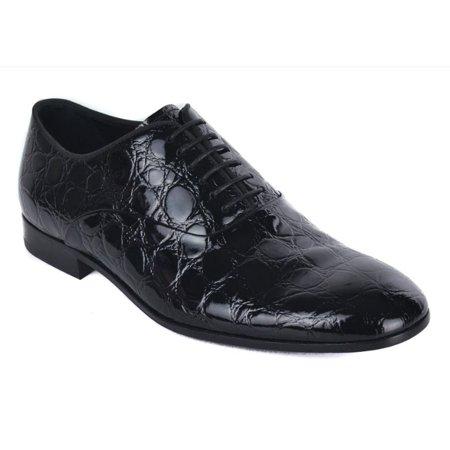 (Giorgio  Armani Mens Black Croc Embossed Patent Leather Derbys)