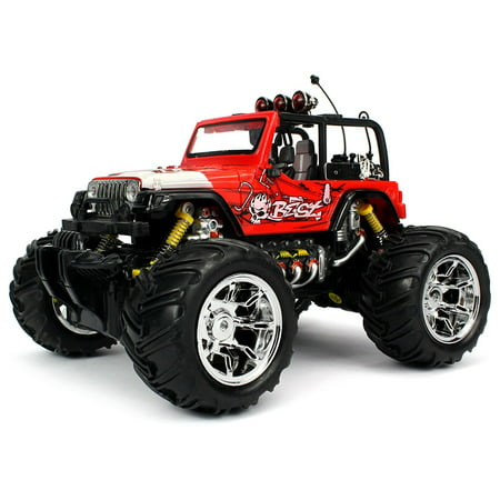 Velocity Toys Graffiti Jeep Wrangler Remote Control RC Truck 1:16 Scale Big Size Off Road Monster Truck Ready To Run, High Quality (Colors May Vary) - Halloween Monster Mud Run