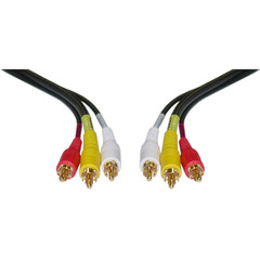 Stereo/VCR RCA Cable, 2 RCA (Audio) + RCA RG59 Video, Gold-plated Connectors, 6 foot