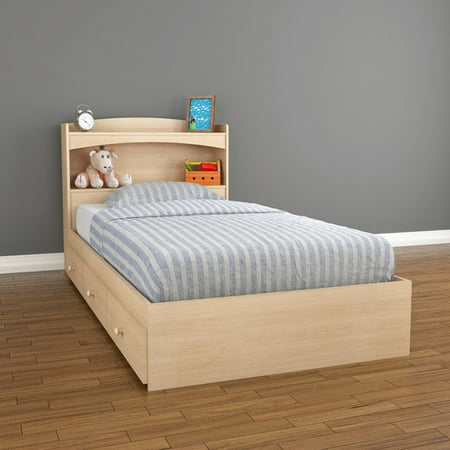 Nexera Alegria Full Size Storage Bed, Natural Maple